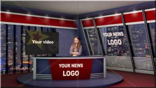 Revostock Virtual News Studio Set 3D «Виртуальная студия 3D» — After Effects Project