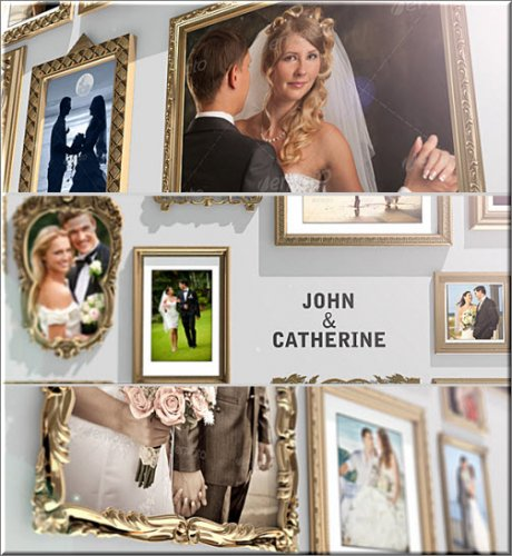 Videohive -  Golden Frames Photo Gallery