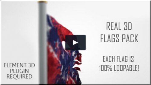 Videohive - Real 3D Flags pack