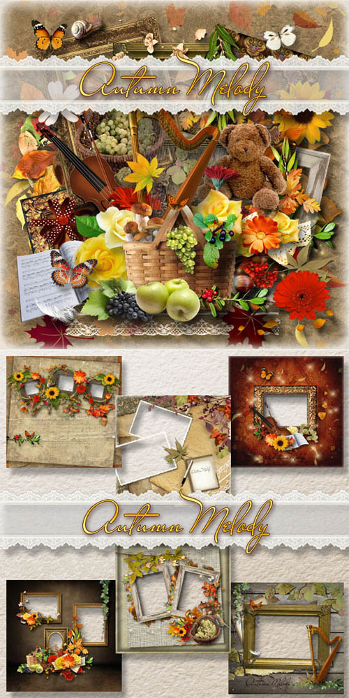 Scrap Set - Autumn Melody PNG and JPG Files