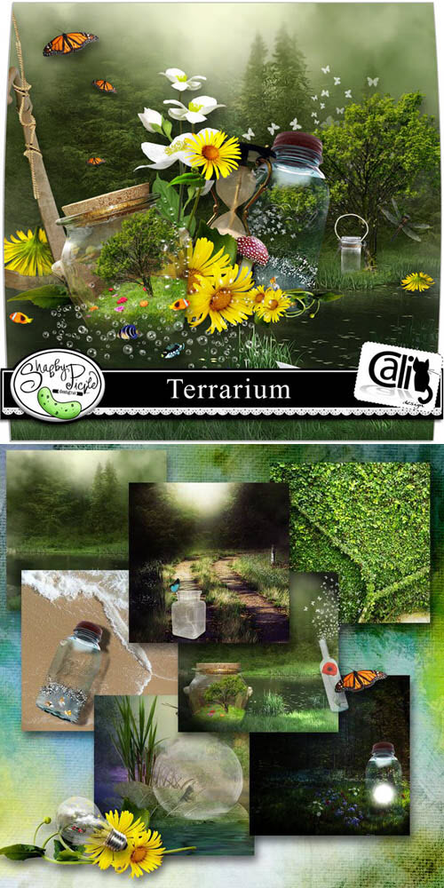 Scrap Set - Terrarium PNG and JPG Files