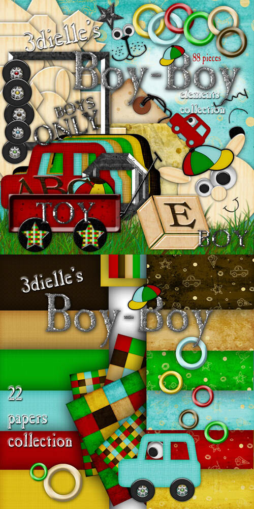 Scrap Set - Boy-Boy PNG and JPG Files