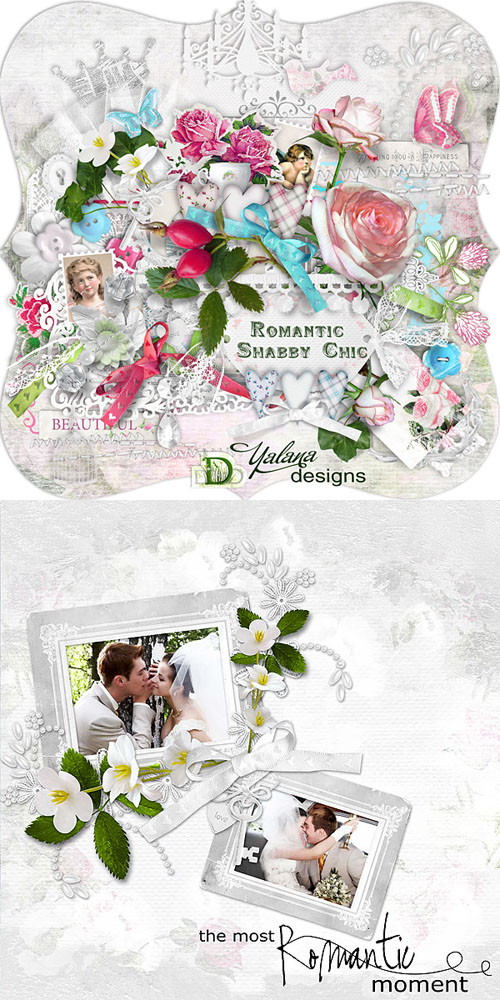 Scrap Set - Romantic Shabby Chic PNG and JPG Files