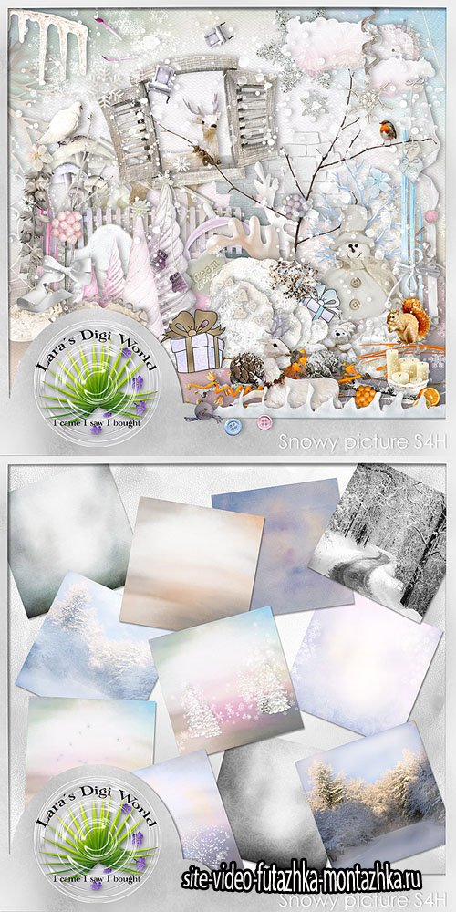 Scrap Set - Snowy Picture PNG and JPG Files