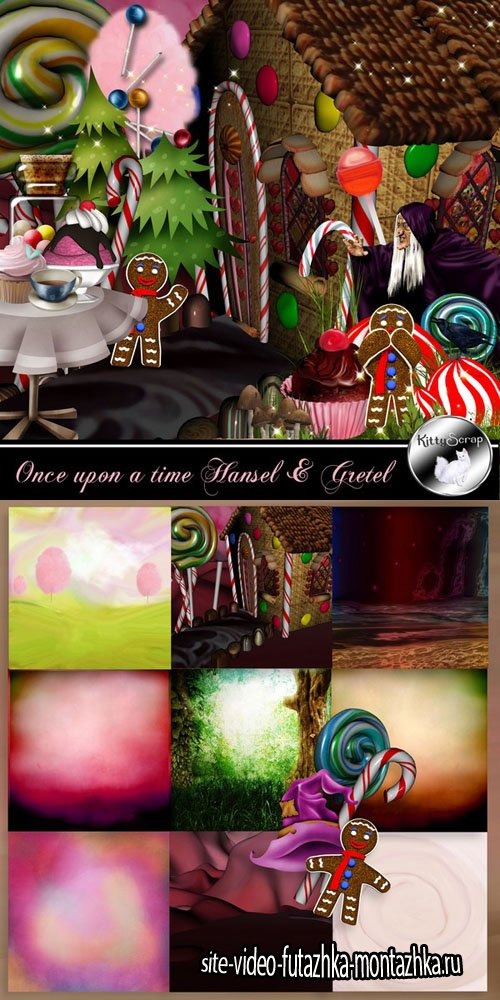 Scrap Set - Once upon a time Hansel & Gretel PNG and JPG Files