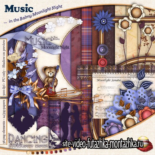Scrap Set - Music in the Balmy Moonlight Night PNG and JPG