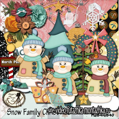 Scrap Set - Snow Family Christmas PNG and JPG Files