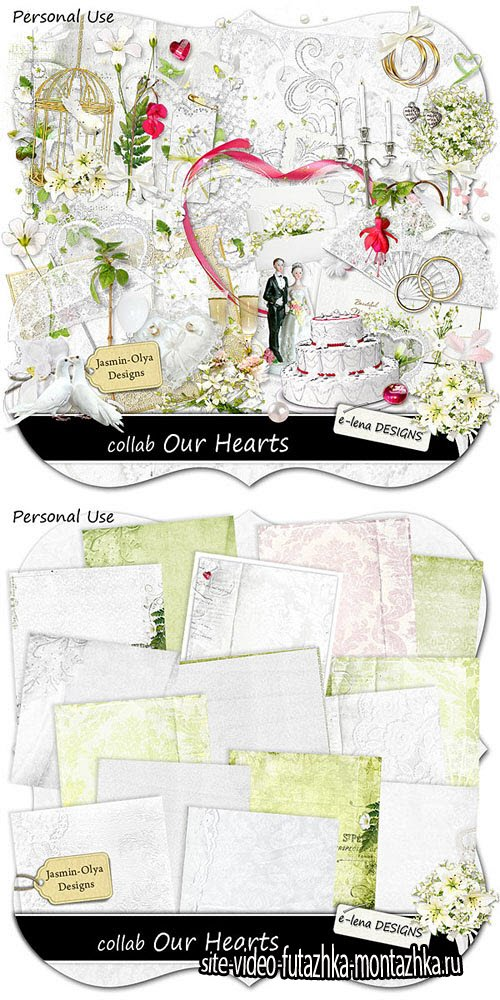 Scrap Set - Our Hearts PNG and JPG Files