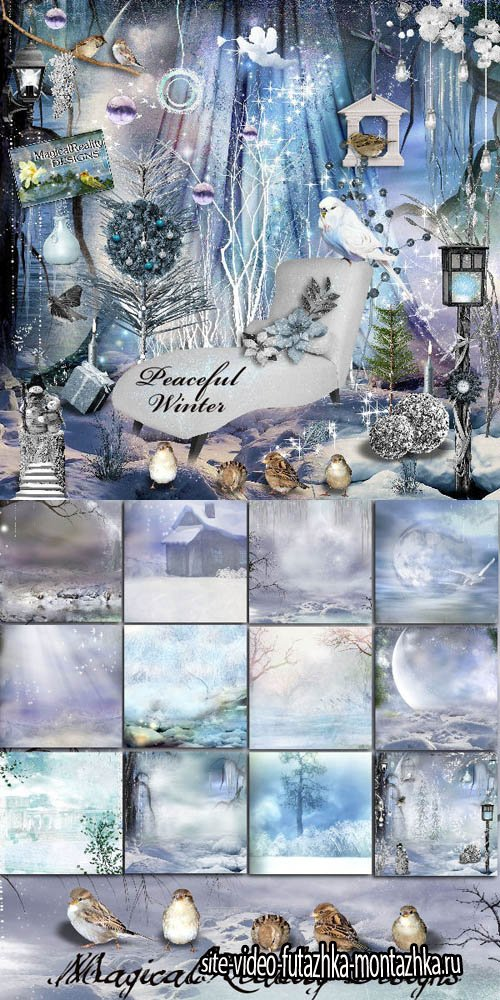 Scrap Kit - Peacceful Winter PNG and JPG Files