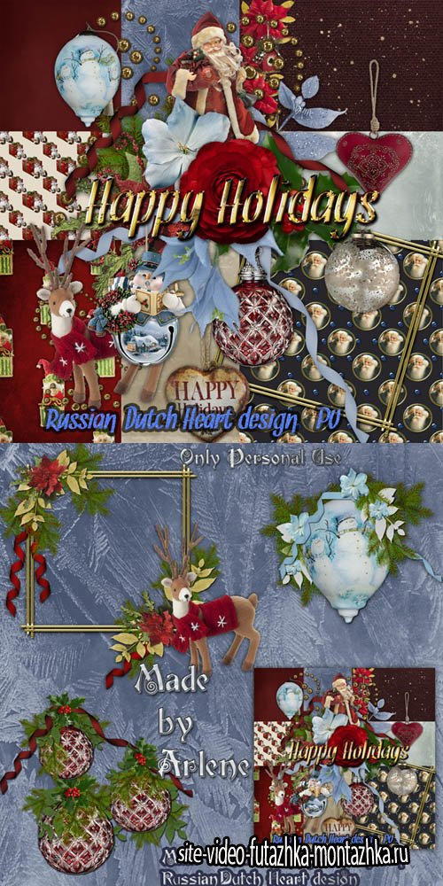 Scrap - Happy Holidays PNG and JPG Files