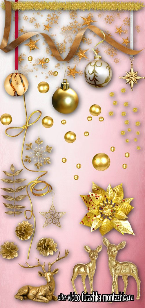 Golden Christmas Decoration PNG Files