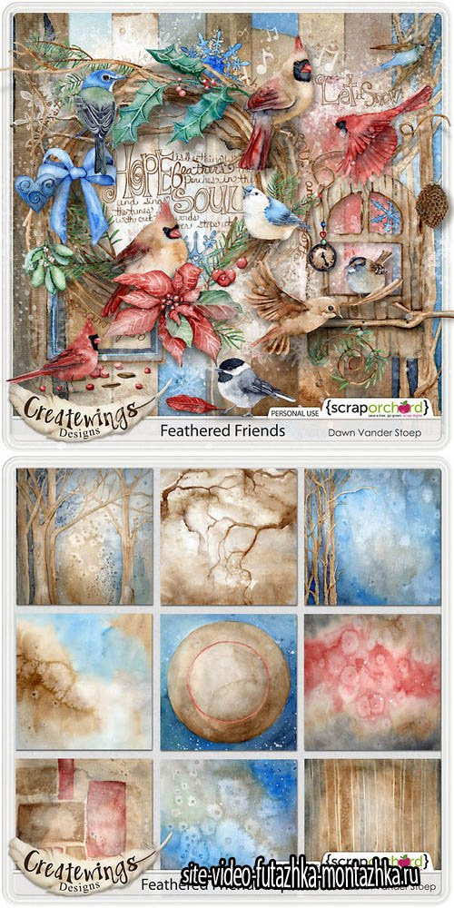 Scrap Set - Feathered Friends PNG and JPG Files