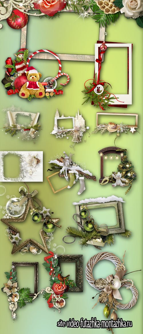 Christmas and New Year Frames PNG Files