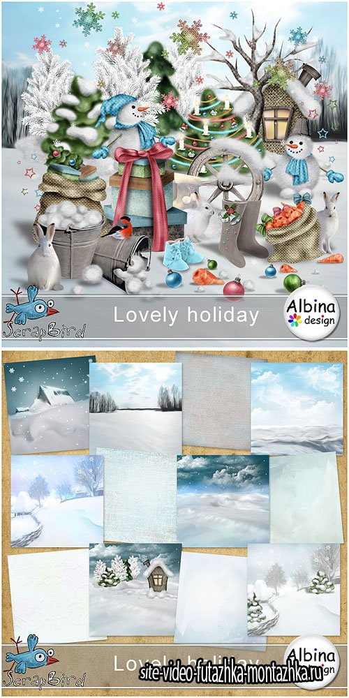 Scrap Set - Lovely Holiday PNG and JPG Files