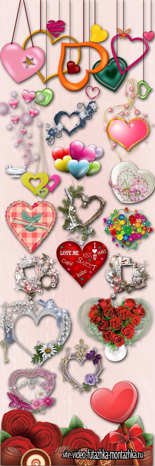 Beautiful Hearts Valentine's Day PNG Files