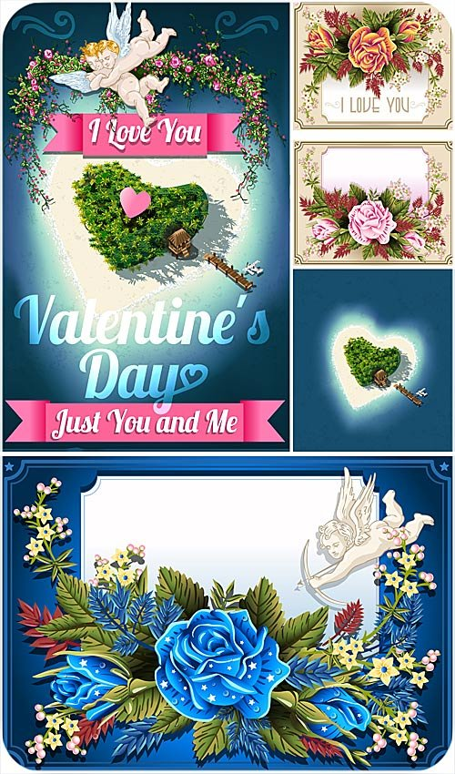 Greeting card with roses and angels Valentine's Day - Stock Vector