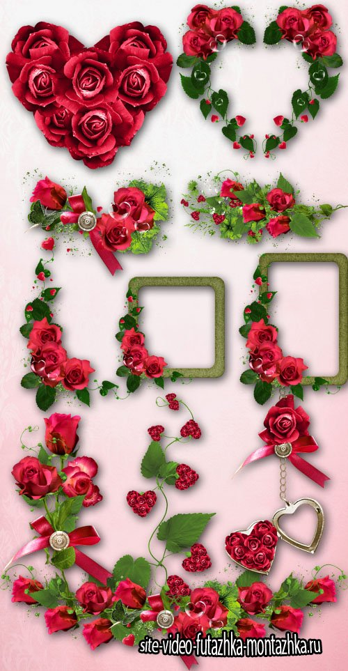 Set of Elements of Valentine's Day PNG Files