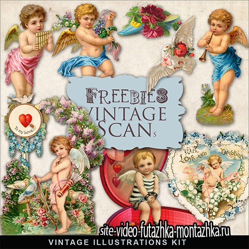 Scrap-kit - Romantic Angels Vintage Illustrations