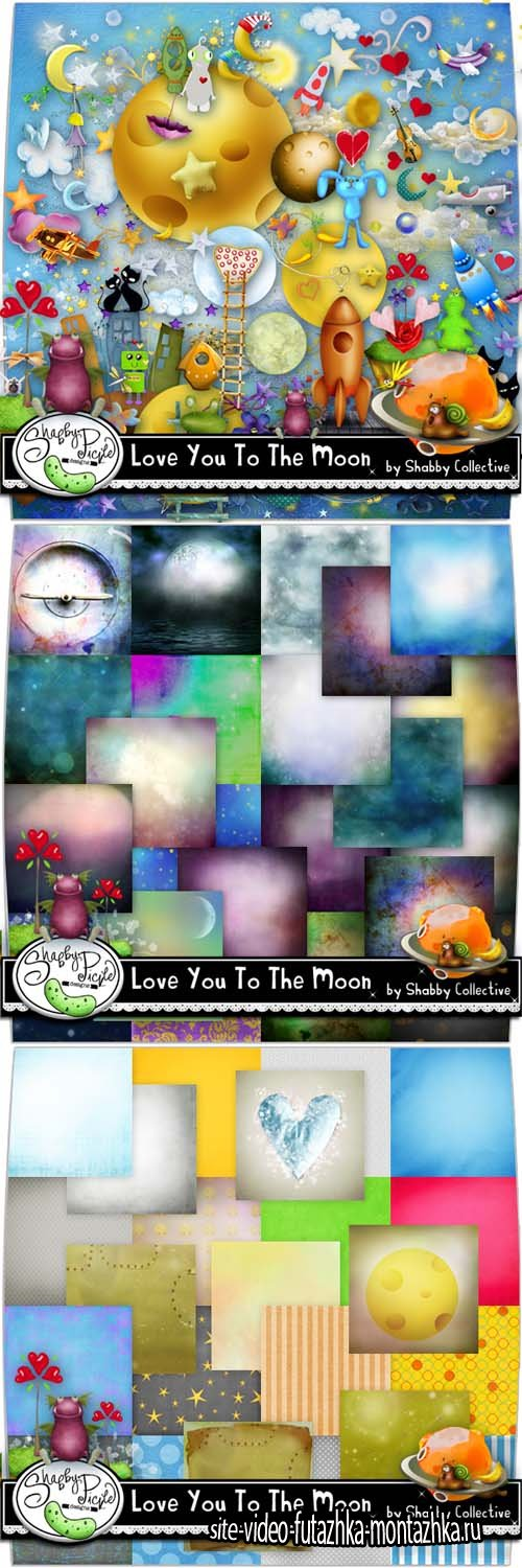 Scrap - Love You to The Moon PNG and JPG Files