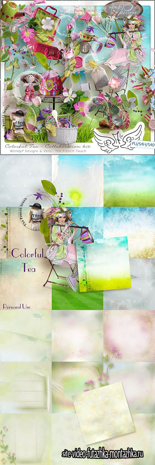 Scrap - Colorful Tea PNG and JPG Files