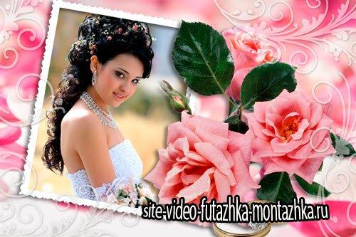 Свадебная рамка для фотошоп Розы