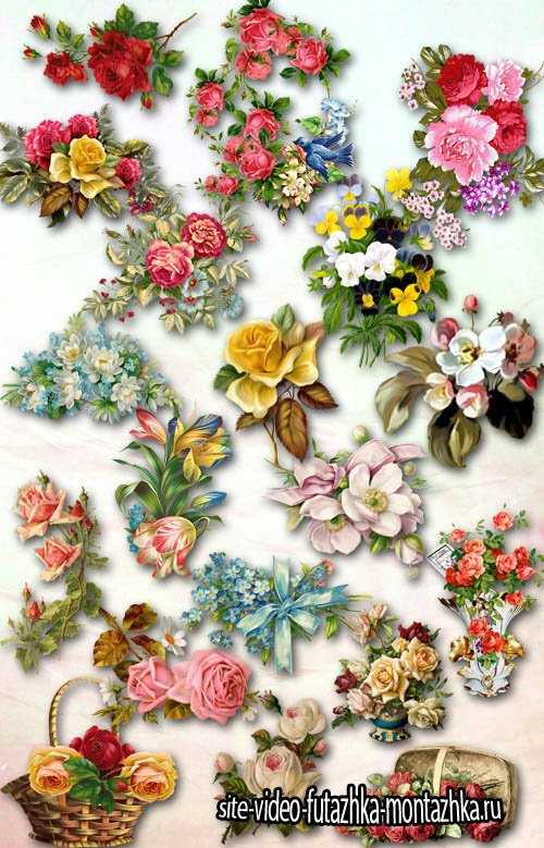 Vintage Flowers PNG Files
