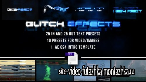 Glitch Presets for Text and Video - Project for After Effects