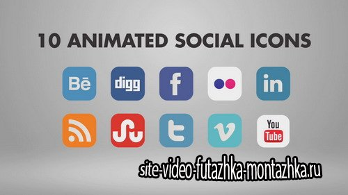10 Animated Social Icons - Project for After Effects (BlueFX)