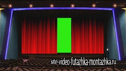 футаж HD - Открытие занавеса на хромакее