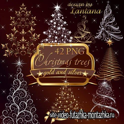 Новогодний набор - Праздничные елочки, серебро и золото
