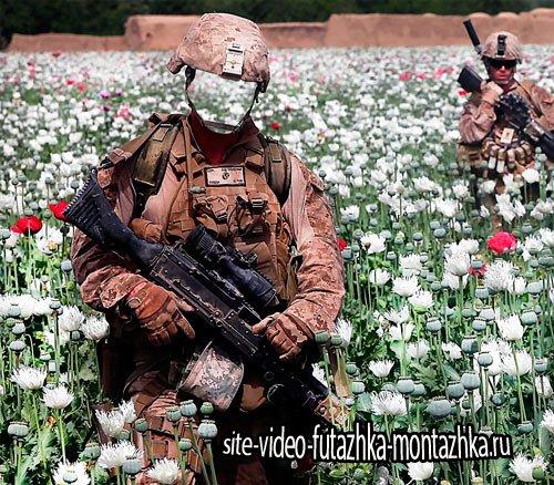 Фотошаблон для фотошопа - Солдаты на маковом поле