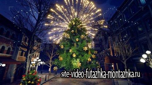 Новогодний футаж - Christmas City In The Night