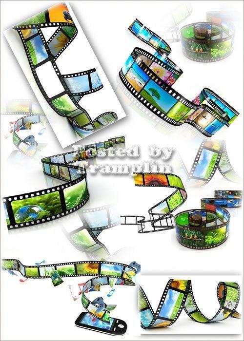 Растровый клипарт  -  Кинопленка с цветными кадрами на белом фоне