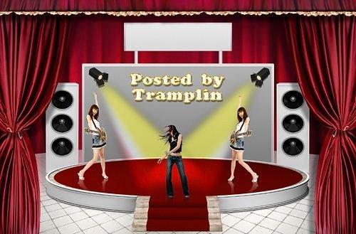 Psd исходник – Сцена, занавеси, подиум, экран