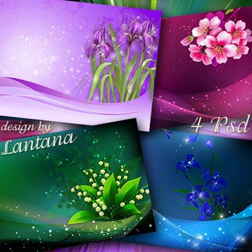 PSD исходники для фотошопа - Нежны и трепетны весенние цветы