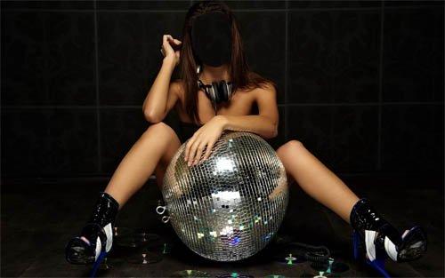 Шаблон женский - Брюнетка DJ и клубный инвентарь