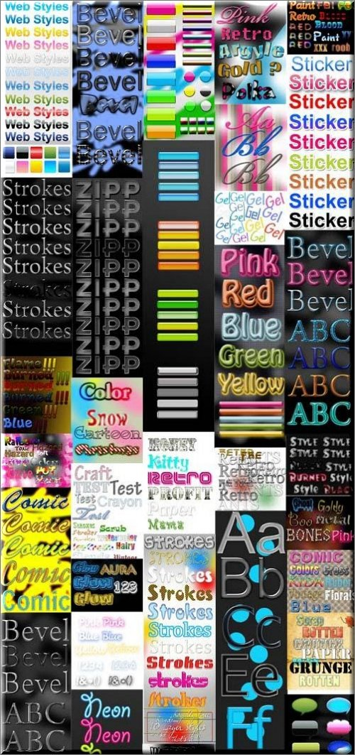 Collection of 37 Different Styles for Photoshop