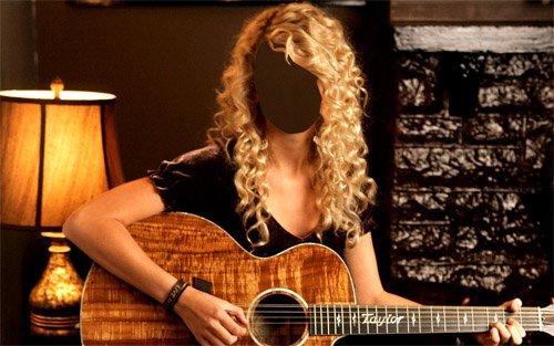 PSD шаблон - Красивая блондинка с гитарой в руках