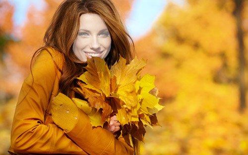 Шаблон для фотошопа - Милая рыжеволосая девушка осень