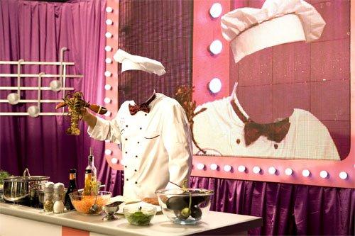 Шаблон для фото - Знаменитый повар готовит лобстеров на передаче