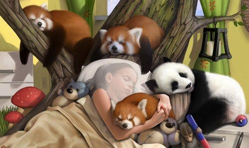 Крепкий сон среди милых животных - шаблон для маленьких