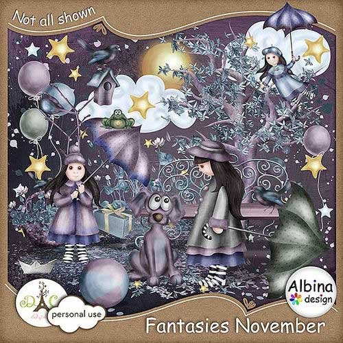 Осенний нарисованный скрап-комплект - Ноябрьские фантазии