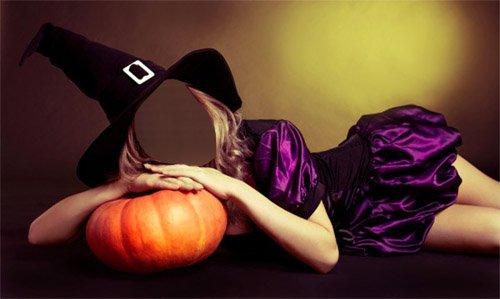 Шаблон для фотомонтажа - Девушка в наряде ведьмы ждет хэллоуина