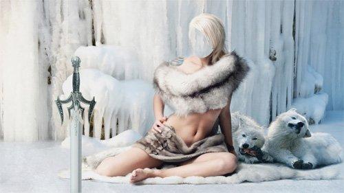Шаблон для фотошопа - Стройная блондинка окутана мехами с белыми волками