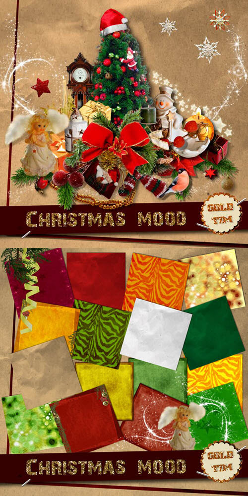Scrap Set - Christmas Mood PNG and JPG Files
