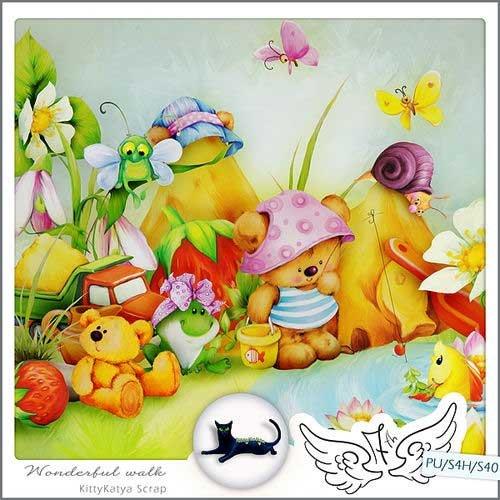 Детский нарисованный скрап-комплект - Великолепная прогулка