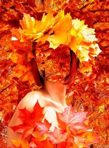Шаблон для фотошопа –Девушка в осеннем лесу