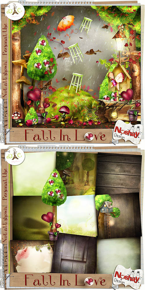 Scrap Set - Fall In Love PNG and JPG Files