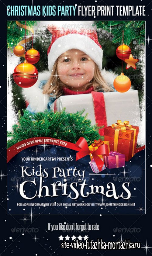 Christmas Kids Party Flyer Print Template