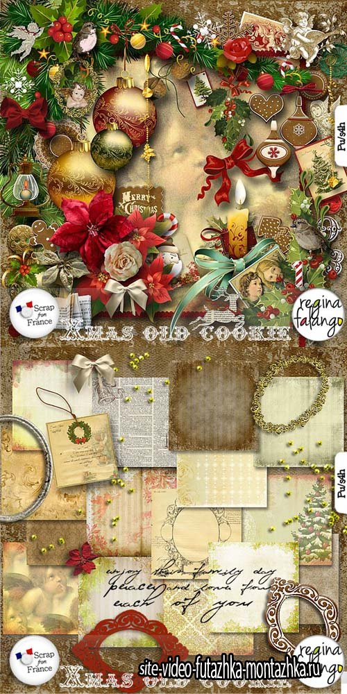 Scrap Set - Xmas Old Cookie PNG and JPG Files